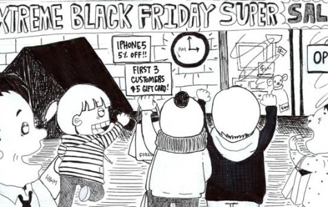 Standalone Cartoon: Black Friday Shopping
