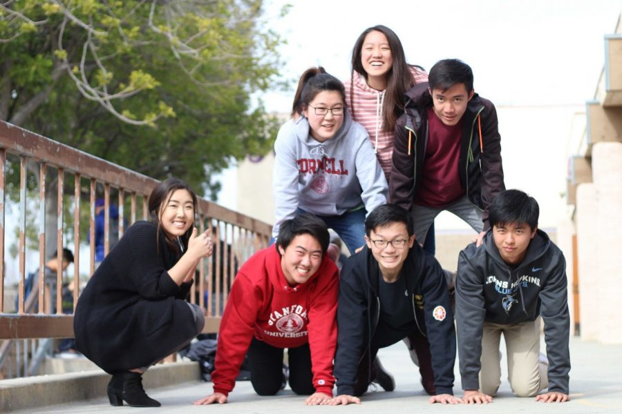 Seniors (clockwise from top) Cathy Chang, Brandon Lee, Eric Han, Benjamin Chen, Derrick Li and Rebecca Kimn, with Morgan Pak at left, have already been accepted at various top universities across the country.