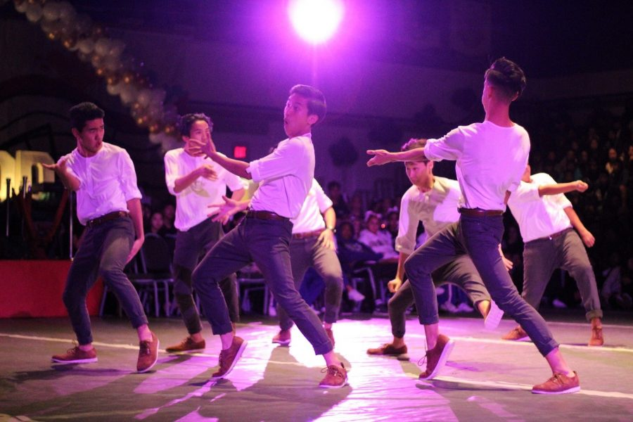 The+Diamond+Bar+All+Male+Dance+Team+performs+its+dance+routine+at+the+performing+arts+rally+in+the+gym+on+Feb.+17.