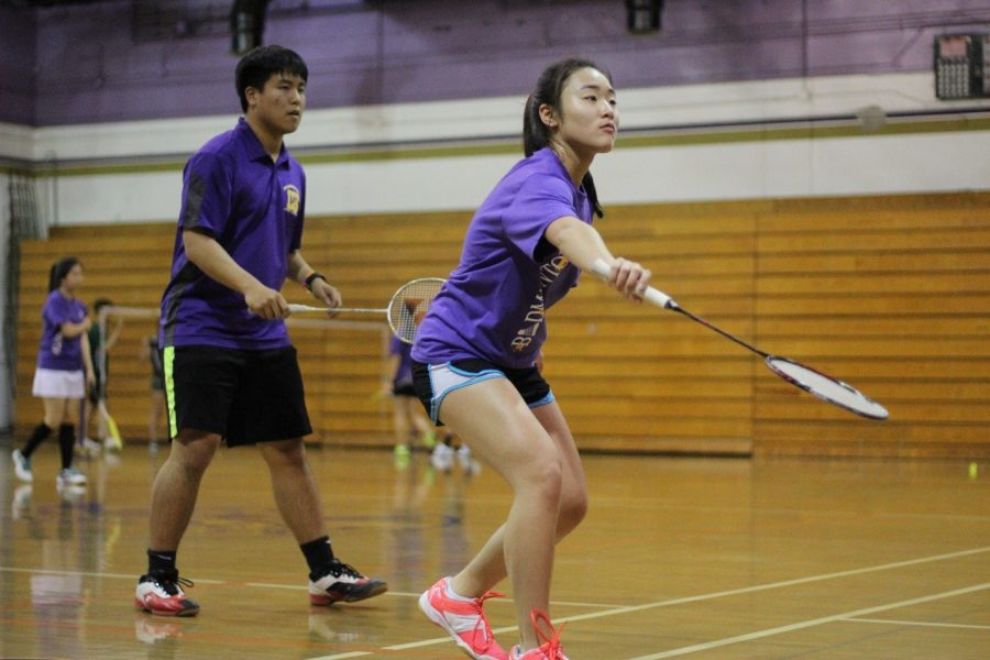 Senior+Justin+Lam+and+sophomore+Mirabelle+Huang+compete+in+mixed+doubles.