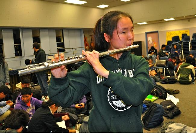 Senior Mi So Kwak performs in the Rose Parade