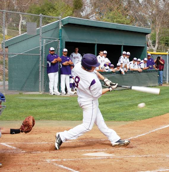 FOUL BALL - Sophomore Jacob Cooke bats in the Brahma's victory over Los Altos.
