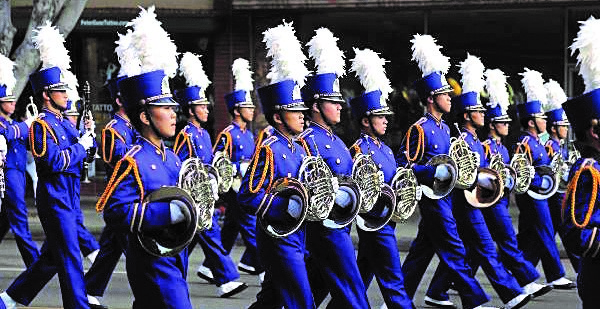 Marching band players performing at the 61st Annual Arcadia Festival Band. Their advisor, Steve Acciani recently was announced as one of the top ten finalists for the annual Grammy Music Educator Award.