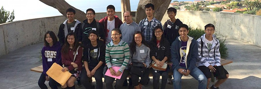Math Team members and advisor Howard Alcosser (top middle) pose at Pepperdine University after a competition.