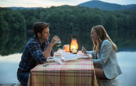 Luke (Scott Eastwood) and Sophia (Britt Robertson) dine together by the lake.