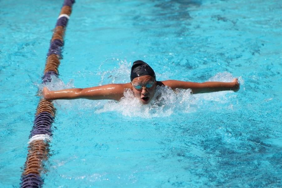 Freshman Sofia Ramos practices her butterfly stroke.