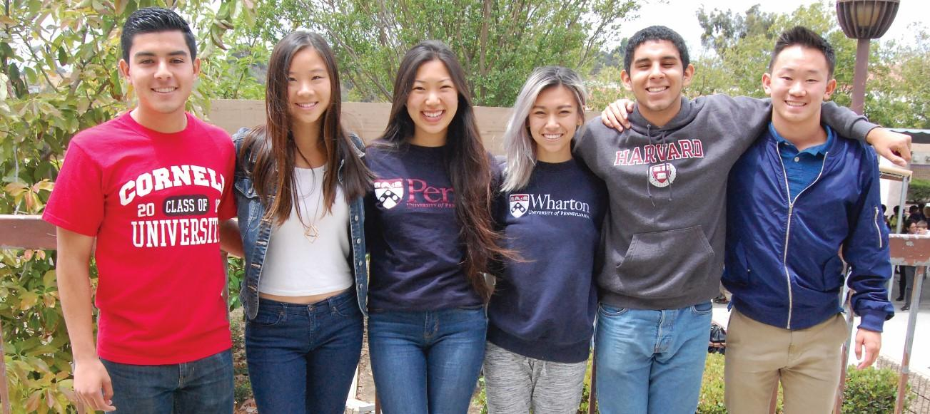 Students (from left) Naethin Herrera, Sophia Deng, Michelle Lyu, Angela Huang, Ruben Reyes, Jr., and Derek Peng will be attending Ivy League schools after distinguishing themselves at DBHS.