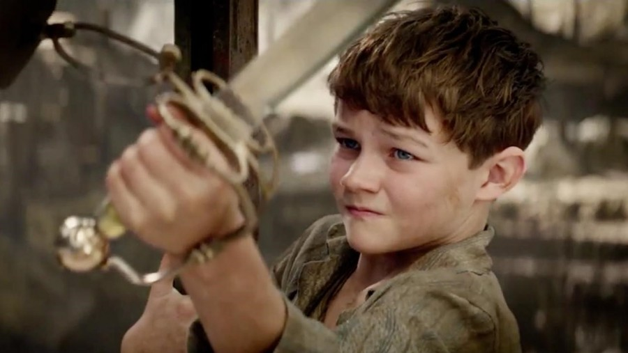 Peter Pan, played by Levi Miller, attempts to fend off the dreaded Blackbeard.
