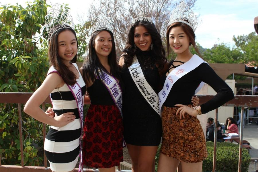 DBHS students, from left, Ashley Chen, Rebecca Wang, Alley Ornelas, and Chloe Lee (also at right),  recently won titles in pageants, where they developed their poise and perfected their presentation skills in order to win.
