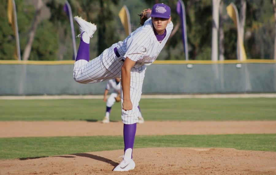 Junior Eric Winchester pitches the ball during a game against Walnut, in which the Brahmas lost 6-1.