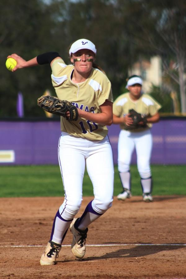 Junior Becky Winder wins up a pitch during a league win over Glendora.