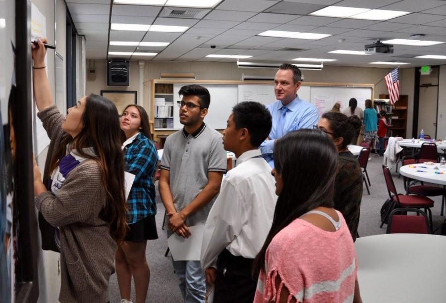 DBHS students discuss possible improvements for the campus with district Superintendent Robert Taylor as part of a new program.