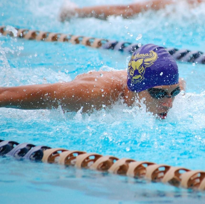 Freshman Kevin Vargas competes in a meet against the Santiago Sharks.