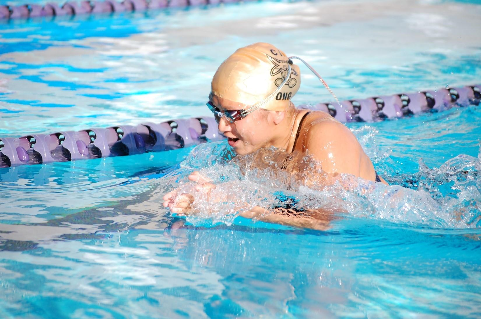 Senior Lauren Ong competes in the individual medley as the Brahmas finished first in league.