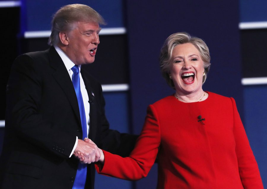 Presidential+hopefuls+Hillary+Clinton+and+Donald+Trump+shake+hands+after+the+first+presidential+debate+on+Sept.+26.
