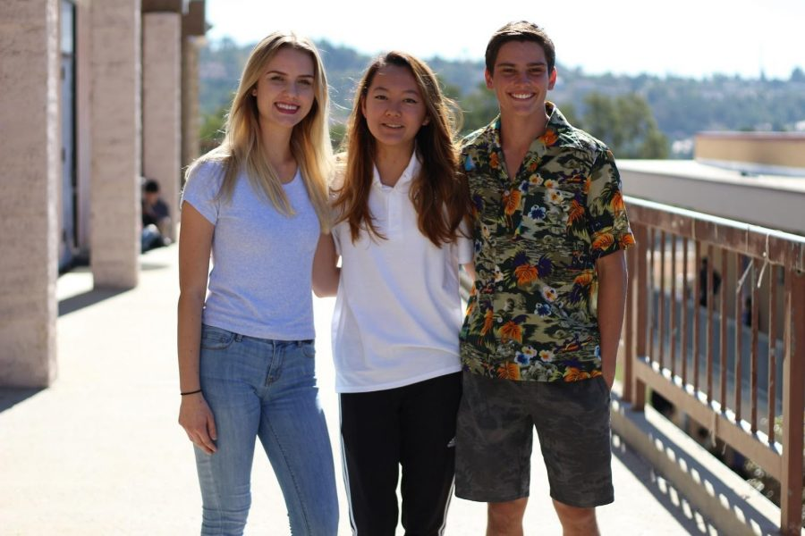 Diamond Bar High School senior Dylan Kinney works as a construction worker. Also having part-time jobs are junior Natalie Swartout (left) and senior Joseline Chang (middle) shown with Kinney (right).