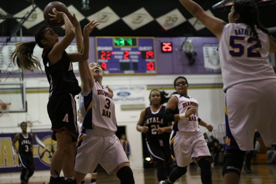 Junior Sabrina McNally (right) closes out an Ayala shooter in a 53-50 win.