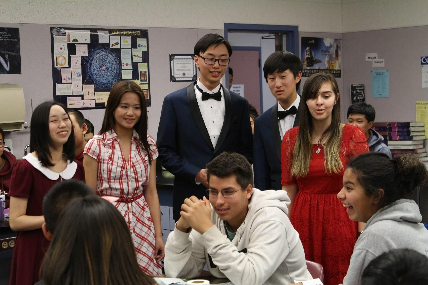 From left to right, Victoria Young, Wavin Hong, Anthony Hao, Joseph Chung and Sophia O'Barr deliver a singing gram.