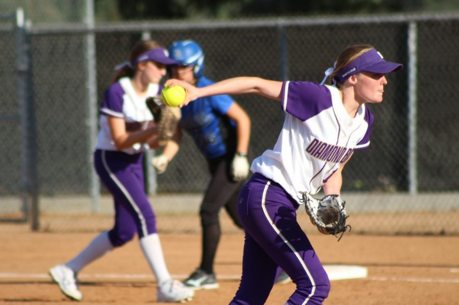 Senior Becky Winder pitches in a game against Diamond Ranch.
