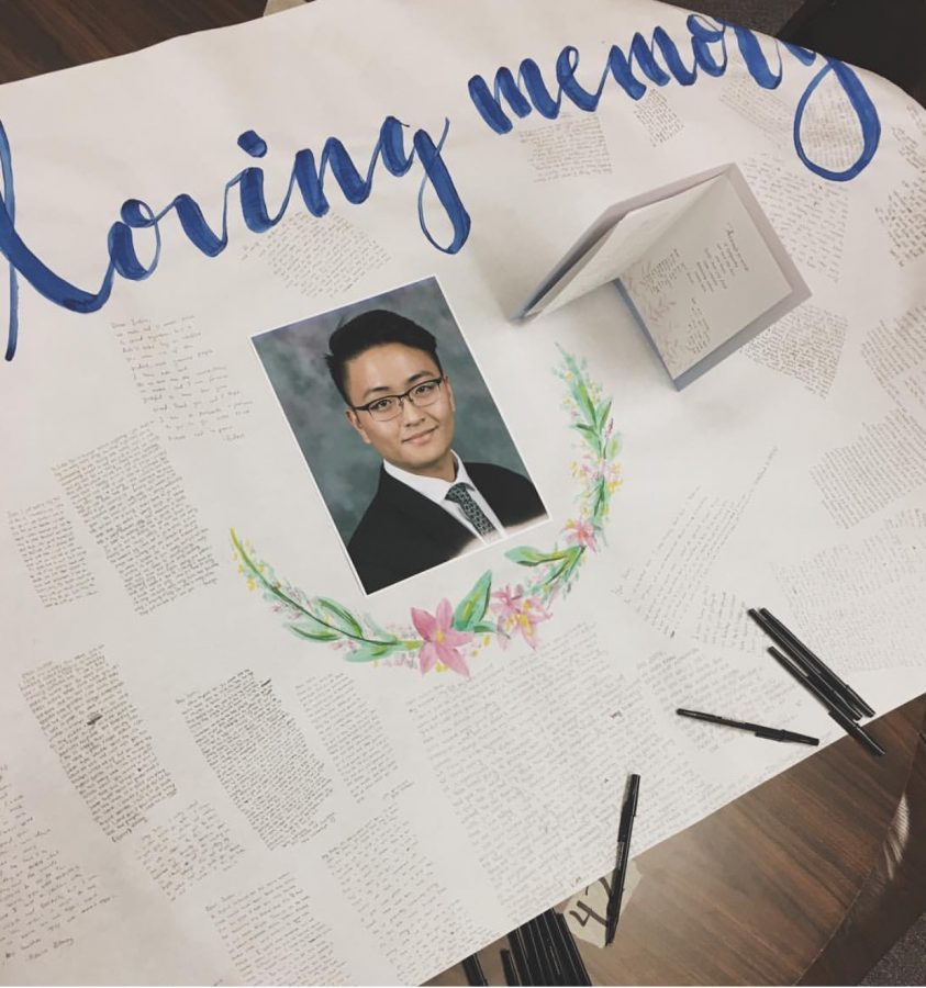 Students signed a card in memory of senior Justin Ahn in the LINC today.