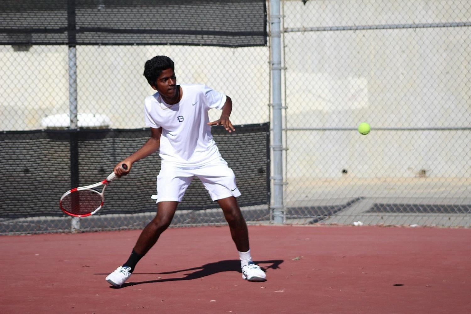 Freshman Akilan Arunachalam competed as a singles players for the Brahmas.