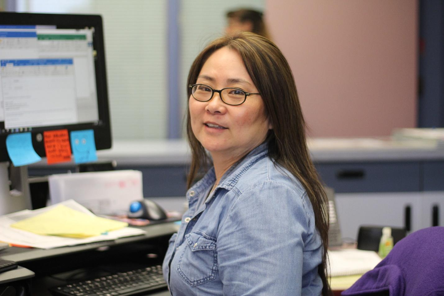 Office aide Mingie Han started working in registration in May 2016.