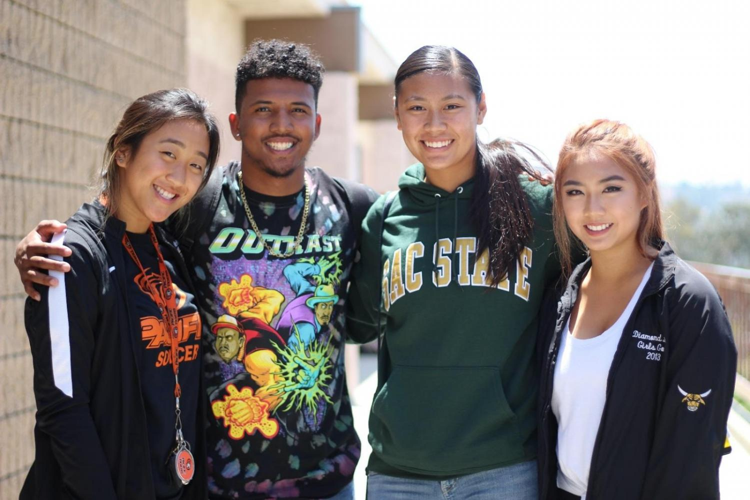 Four out of the eight Brahmas (left to right) that earned athletic scholarships are Kayla Pak, Davion Bluitt, Gabrielle Niko and Jane Park.