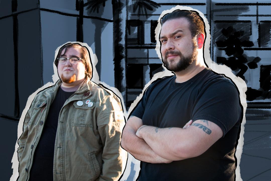 "Alumnus James Alvarez (right) and his brother Aaron run an Orange County web comic called ""The Obscure Gentlemen."""