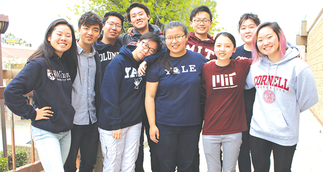 From left to right, Monica Lin, Eden Chen, Justin Chuang, Derrick Li, Jay Zhang, Leslie Sim, Benjamin Chen, Sabrina Tseng, Rebecca Kimn and Janette Park are ten of the DBHS students who have been accepted into prestigious universities.
