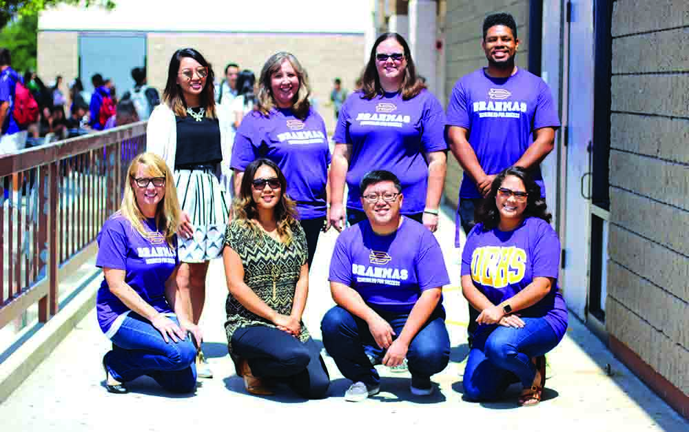 Back row, from left, Kiara Chan, Carrie Yee, Lisa Arionus, Anthony Poullard and front row, from left, Dawn Daza, Kristine Palisoc, Stanley Hsu and Jasmine Silver take on their new positions as faculty member beginning this school year.