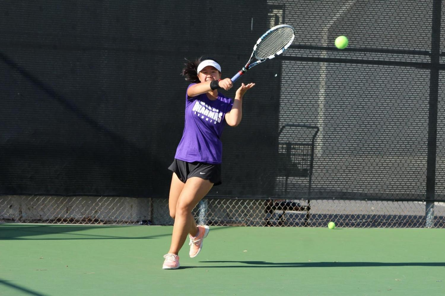 Senior Angeline Cheng has played for both singles and doubles for the team.