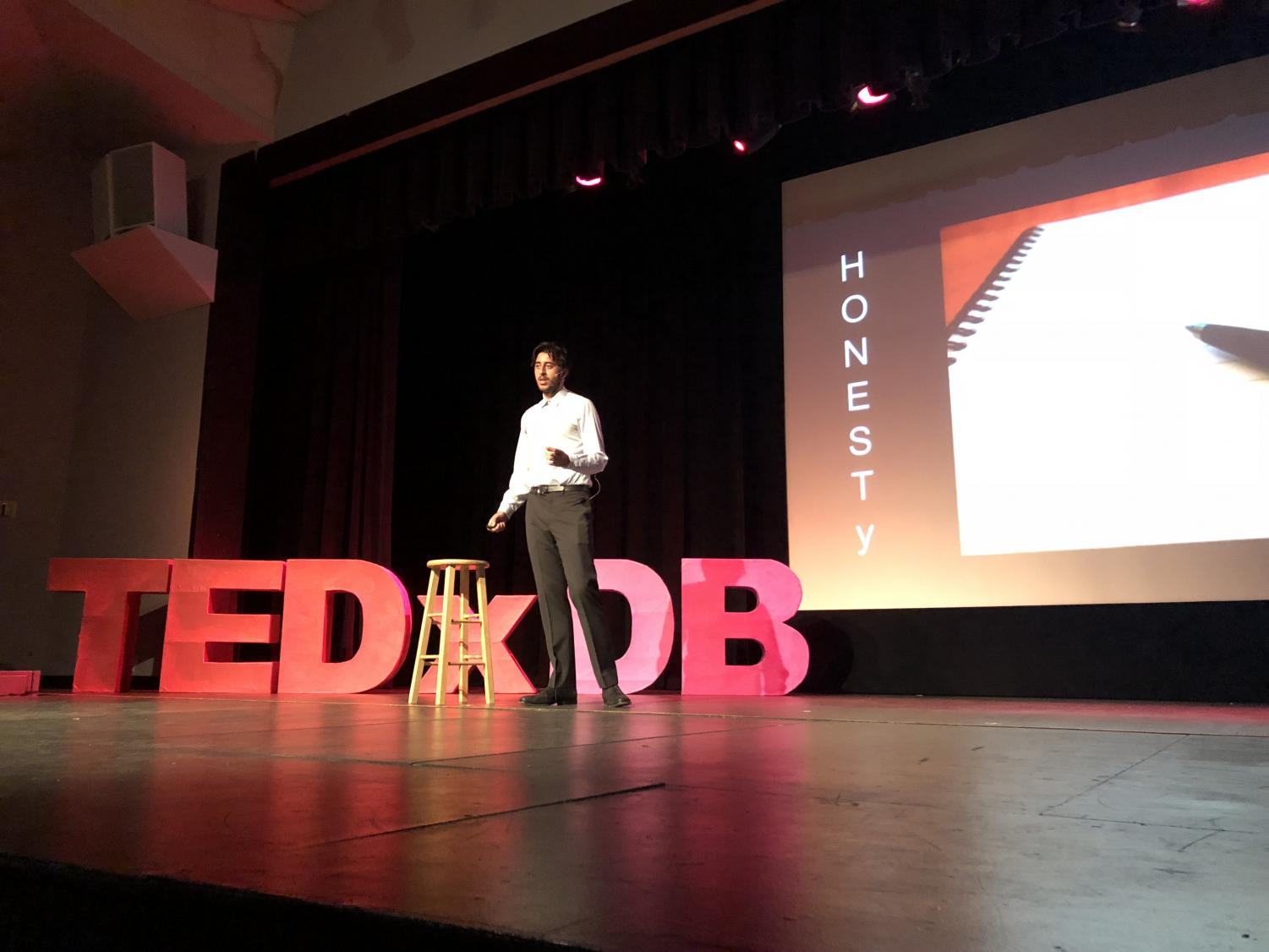 Senior Rajvir Dua speaks at the Ted Talk event on
