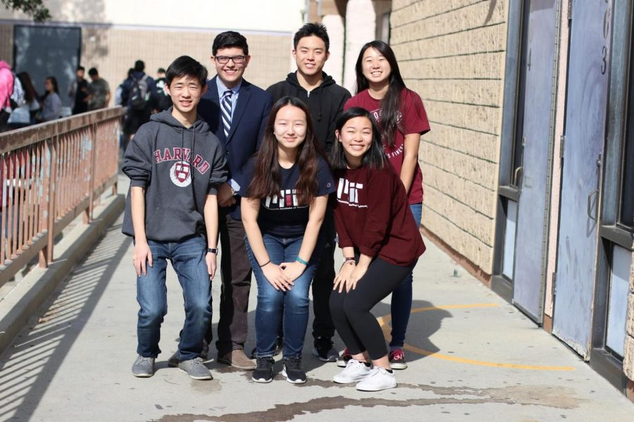 Among the students accepted to various high-ranking schools are (front row from left to right) seniors Matthew Ho, Silvia Cao, Tanya Yang, (back row from left to right) Pablo Martinez, Brian Li and Amy Xia.