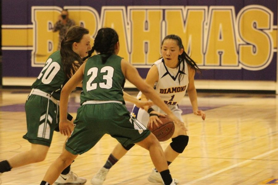 Senior+guard+Kaitlyn+Lee+dribbles+her+way+out+of+a+double+team+in+a+43-34+loss+against+the+Bonita+Bearcats.