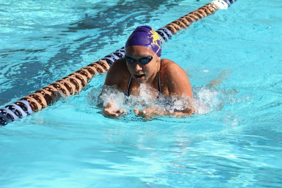 Senior Sophia Ramos swims in the 200 meter IM against South Hills.