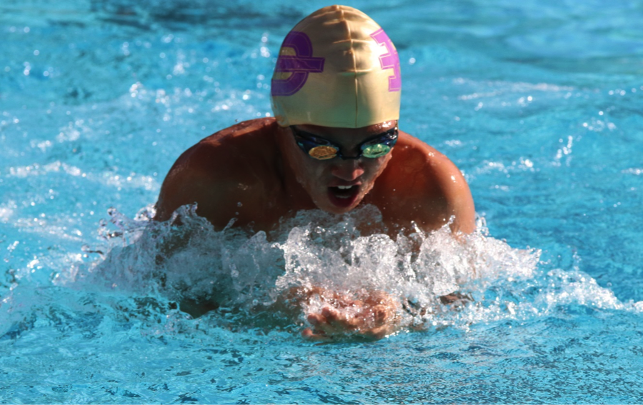 Freshman Stephen Lee competed in breaststroke for boys at League Finals.