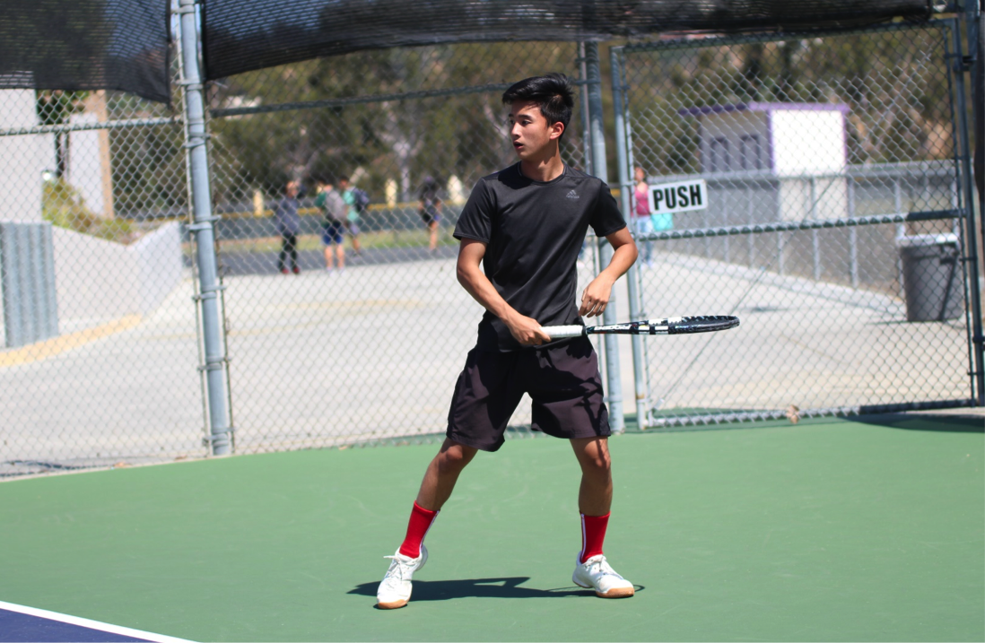 Junior Andy Tsai continues to practice tennis after the tournament, preparing for next season when the team moves to Mt. Baldy League