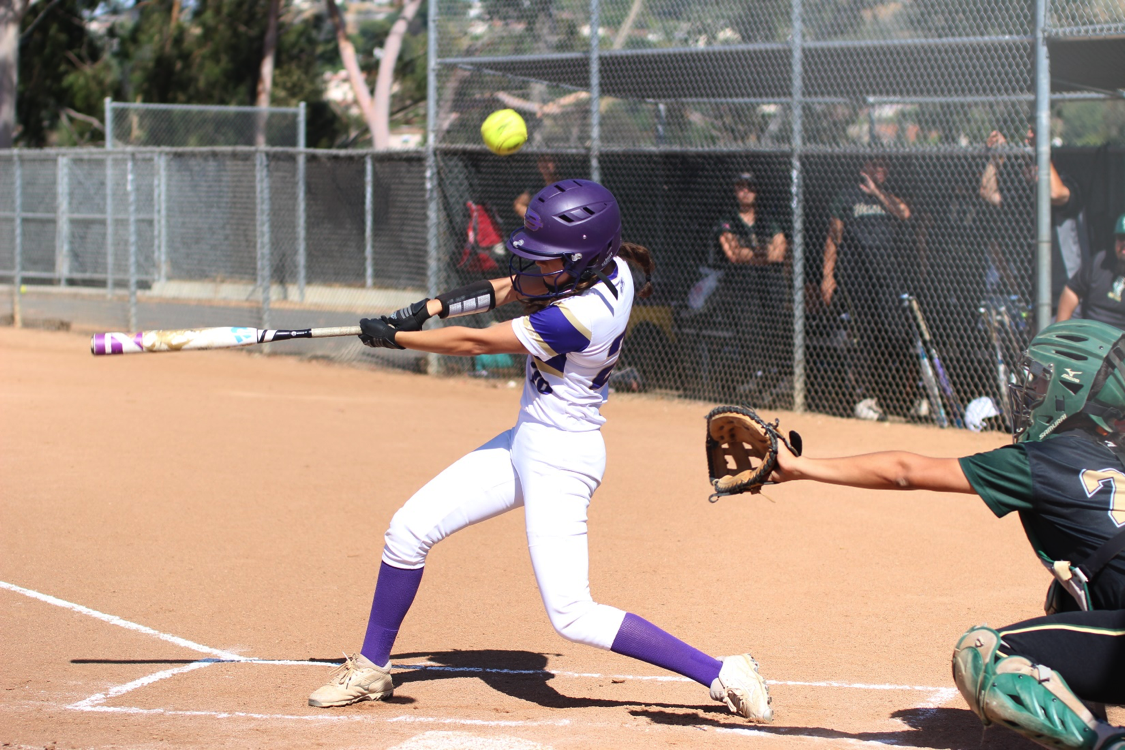 Sophomore Liliana Ruvalcaba bats in a 4-2 loss against South Hills. The team finished league with a 6-9 record.