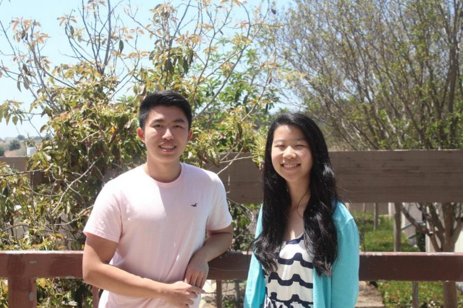 Darin Chang (left) and Melody Chang were awarded $500 from Girls' League.
