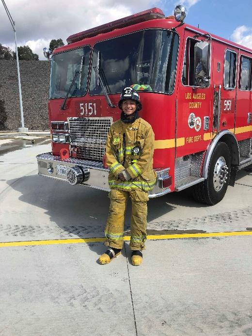 Senior Cristian Meza completed the firefighter training program.