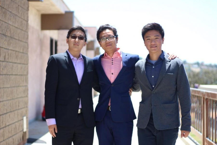 From left, sophomores Jackson Lennon, Tony Xu and Michael Cheng are the founders of Student Collaboration which connects students to internships.