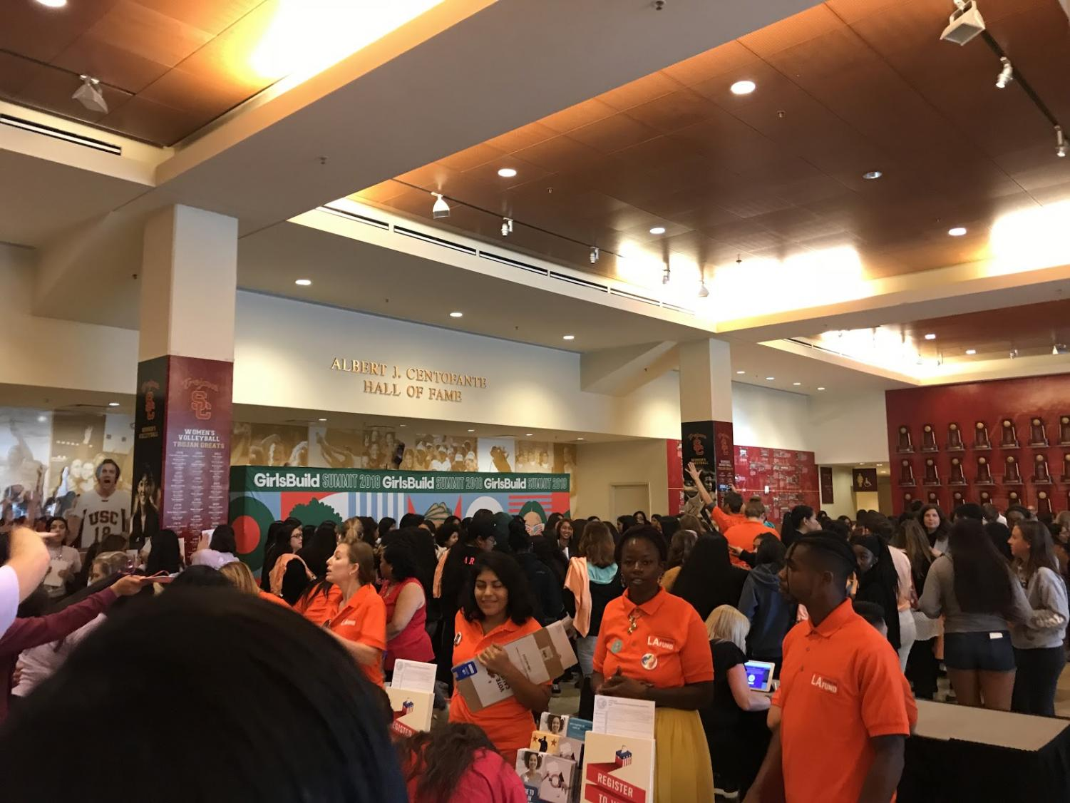 High school students gather at USC's Albert J. Centofante Hall of Fame during registration at the Girls Build LA Summit.