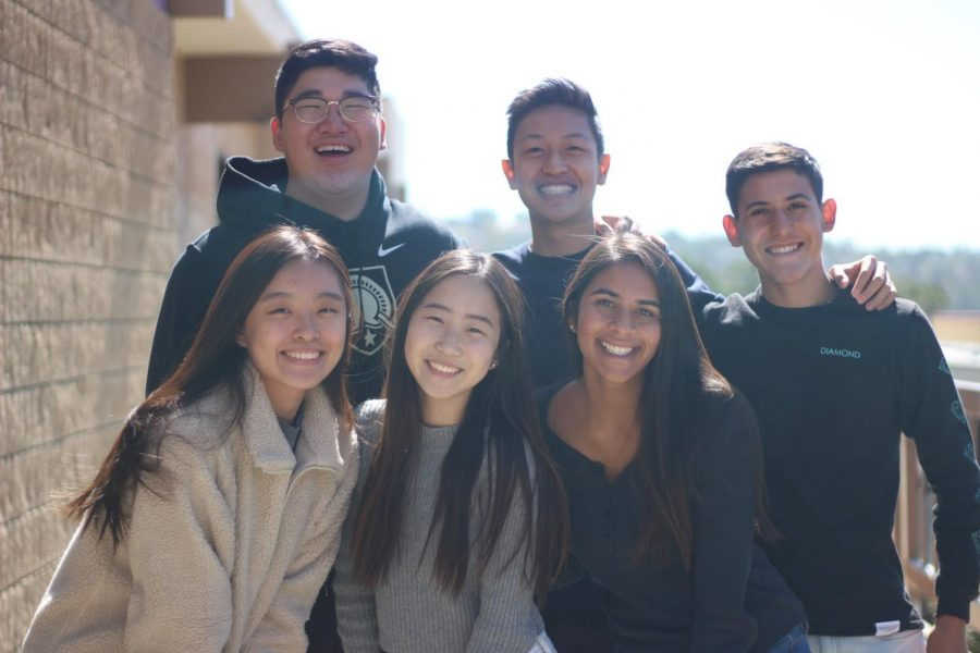 Clockwise from top left, juniors Jonathan Song, Lawrence Wang, Gabriel Martinez, Tera Evans, Nathalie Fang and Arella Yang take over the 2019 USB E-Board.