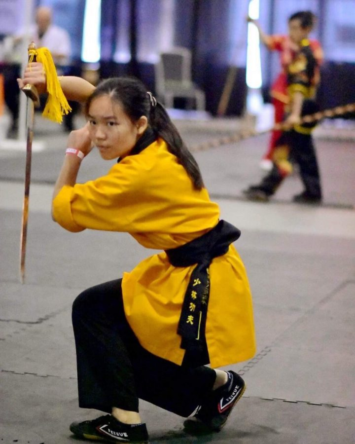 Jennifer Lai performs the shaolin straight sword form this year at San Jose.