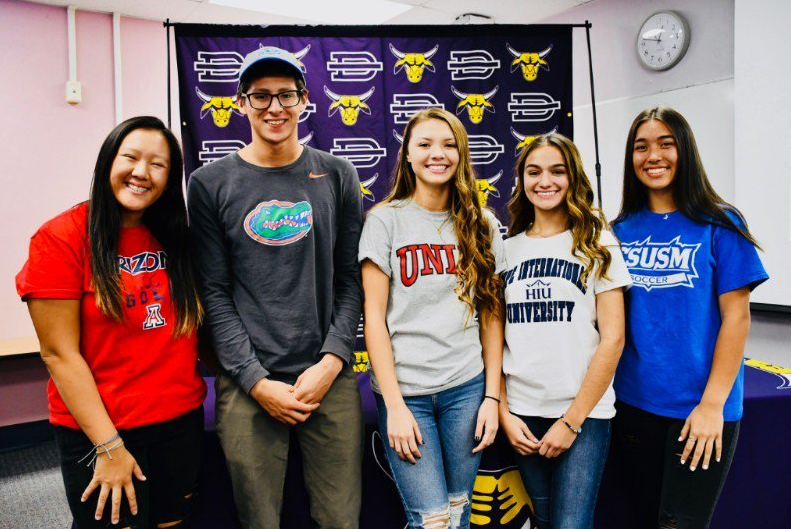 From left to right, seniors Kailie Vongsaga, Kevin Vargas, Elisa Kolek, Samantha Padilla, and Brooke Innis have signed with different universities to continue playing their sport at the collegiate level next fall.