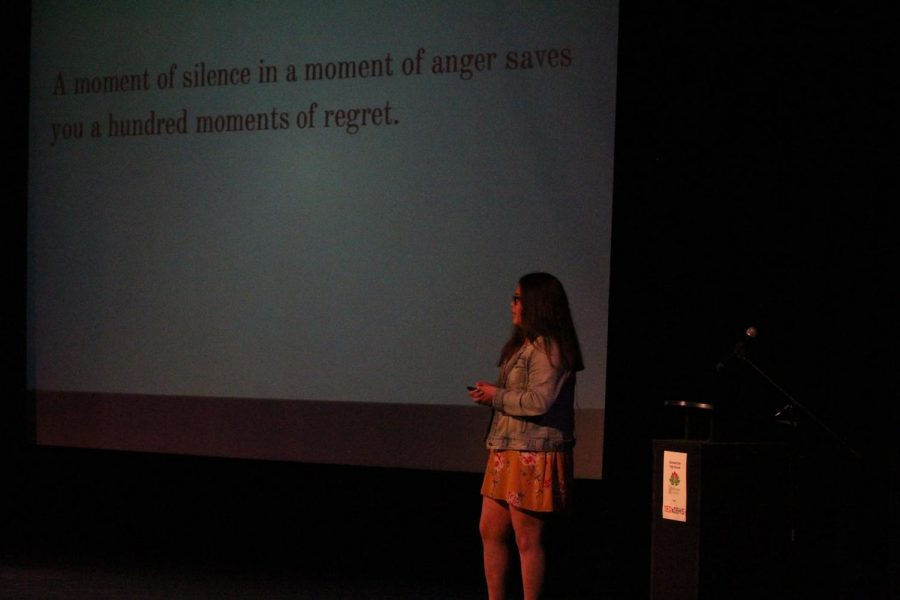 Senior Vivianna Retamosa shares her experience with anger in a TEDx Talk, hosted by the Wellness Center, on stage during fifth period on Nov. 28.