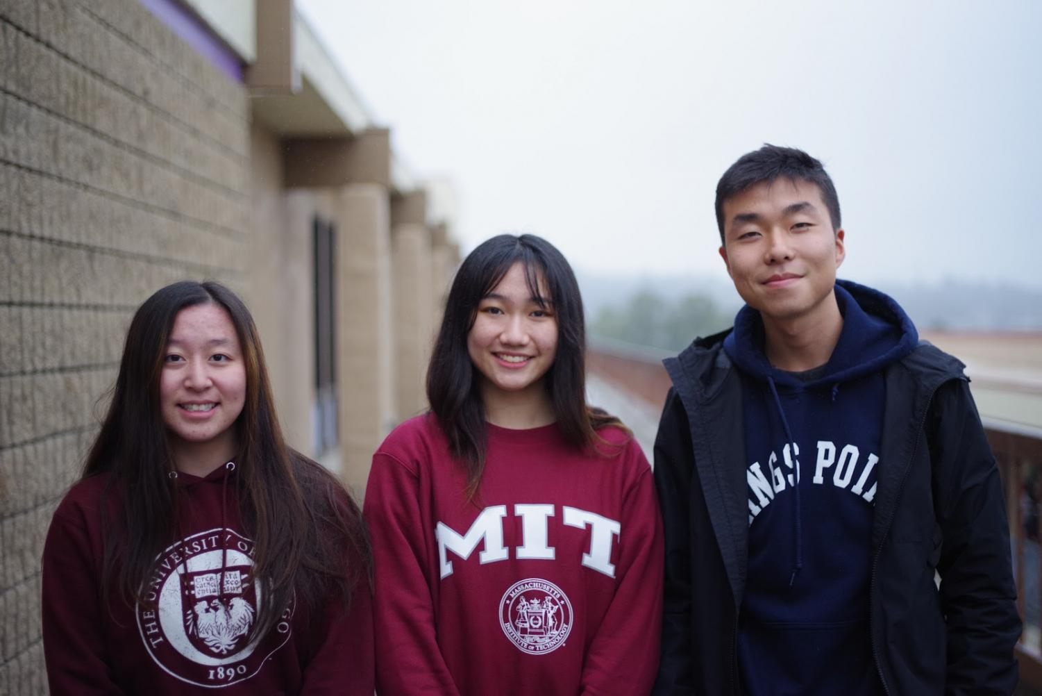 From left, seniors Meghan Xiang, Karyn Real and Se Ho Kwak received acceptances from top colleges around the nation.