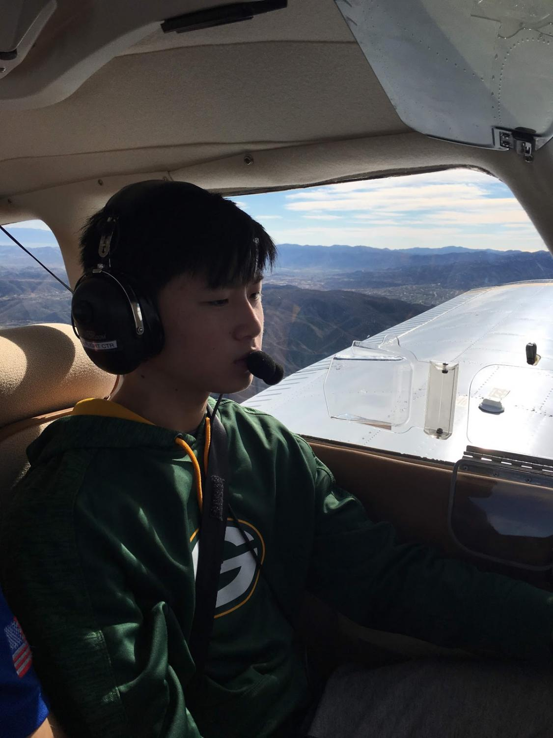 Chang attempts to master a landing during his solo flight test in January.