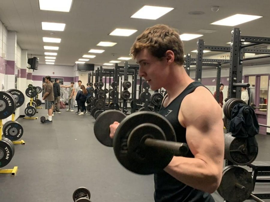 Senior Evan Miller focuses on training different muscle groups almost everyday of the week, separating his workouts into chest, back, legs and arms.