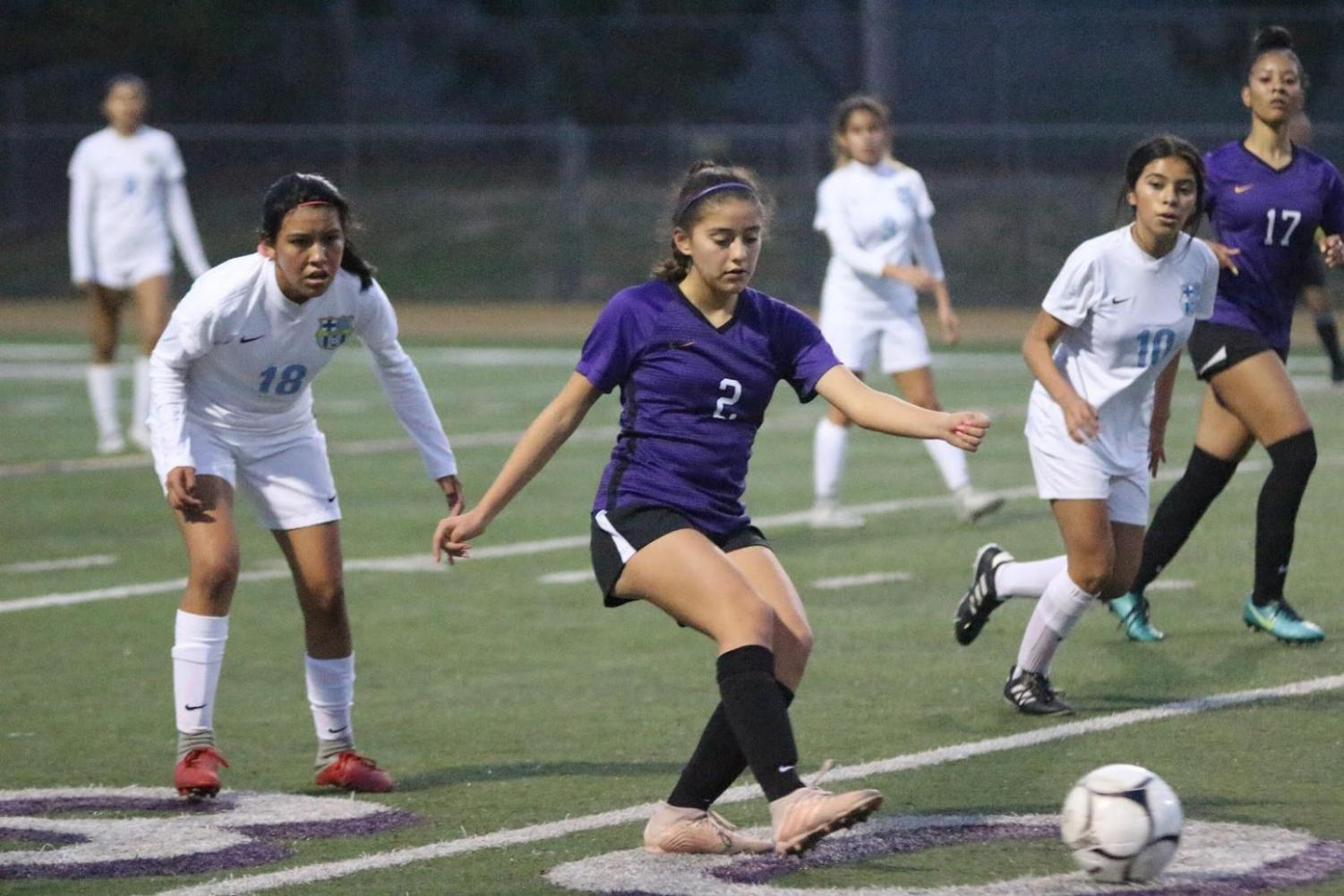 Freshman Isabelle Hurtado takes possession of the ball in the girl's last game of the season, defeating Montclair 4-1.